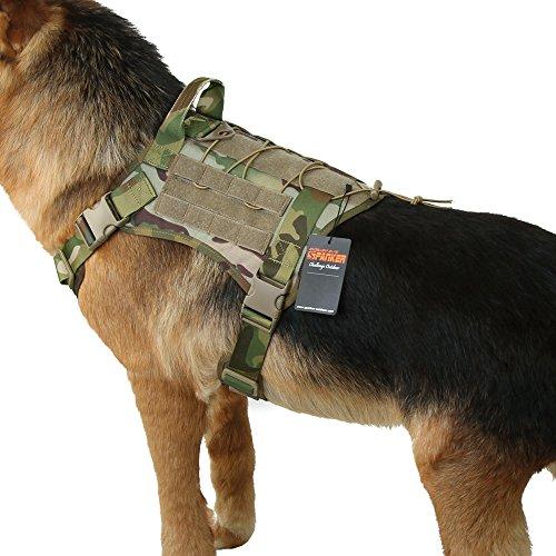 EXCELLENT ELITE SPANKER Tactical Service Dog Vest Military Patrol K9 Dog Harness Nylon Molle Adjustable Dog Vest Harness with Handles(MCP-M)