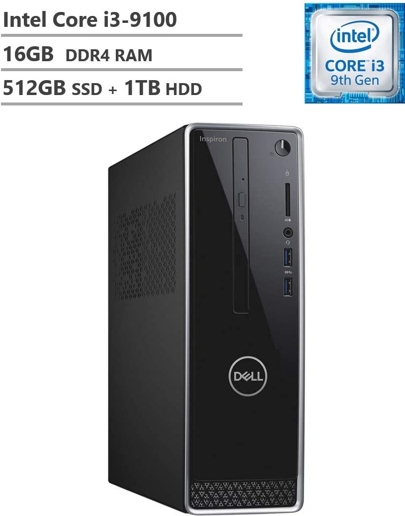 Newest Dell Inspiron 3471 Small Form Mini Desktop, 9th Gen Core i3-9100 3.60 GHz, 16GB DDR4 RAM, 512GB M.2. SATA SSD(Boot) + 1TB HDD, 802.11bgn + Bluetooth 4.0, HDMI, VGA, DVD-RW, Windows 10