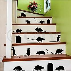 Rats Mice Doors Set of 17 vinyl lettering decal halloween