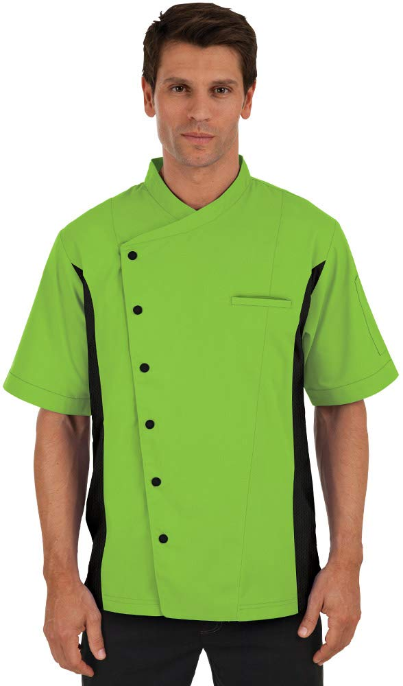 Men's Short Sleeve Chef Coat with Mesh Sides (XS-3X, 2 Colors) (Small, Apple Green/Black) by ChefUniforms.com