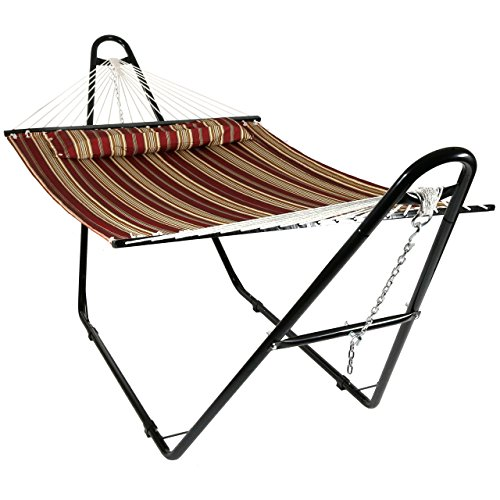 Sunnydaze Quilted Double Fabric 2-Person Hammock with Multi-Use Universal Steel Stand, Red Stripe, 440 Pound Capacity