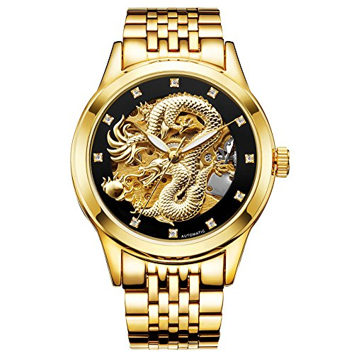 Kdjstore Luxury Mens Skeleton Automatic Mechanical Wrist Watch Dragon Stainless Steel Band  Gold Band