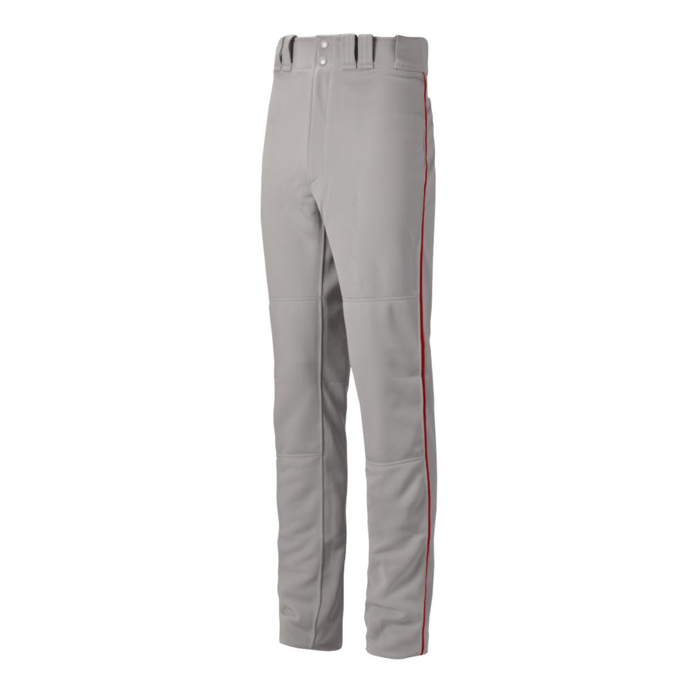 Mizuno Youth Premier Pro Piped G2 Baseball Pant, Grey-Red, Youth Large by Mizuno