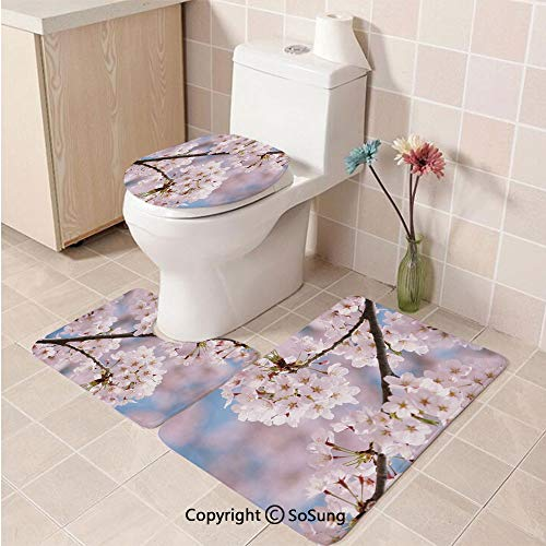 3pcs/Set Spring Decor Style Toilet Mat,Floral Tree Branches Cherry Blossom Petals Buds Flourishing Nature Landscape,Plush Bathroom Decor Mat with Non Slip Backing Baby Pink