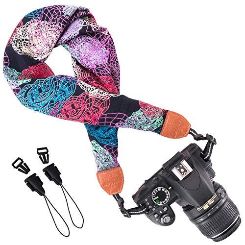Wolven Soft Scarf Camera Neck Shoulder Strap Belt Compatible for All DSLR/SLR/Digital Camera (DC)/Instant Camera/Nikon/Canon/Sony/Pentax/Olympus/Leica/Fujifilm etc, Pattern 03