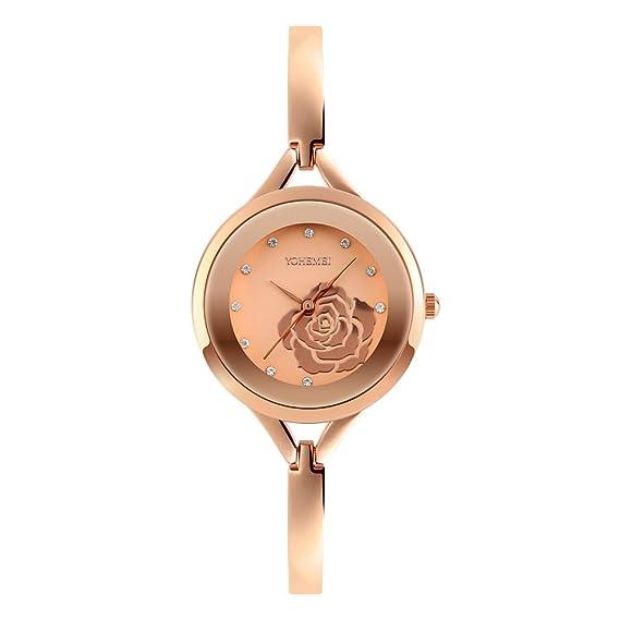 Ladies relojes de oro rosa reloj rhinestone joyas cuarzo resistente al agua muñeca relojes para las
