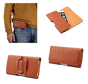 DFV mobile - Case synthetic leather horizontal belt clip for => ZTE Grand X Quad V987 > Brown