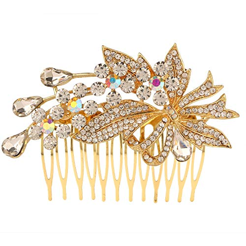 Efulgenz Indian Bollywood White Crystal Pearl 14 k Gold Plated Floral Hair Pin Accessory for Girls Women Brides Bridemaids ()