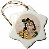 3dRose LLC orn_132621_1 Porcelain Snowflake Ornament, 3-Inch, ''Mural of Ganesha, Hindu Deity, Rajasthan, India-Keren Su''