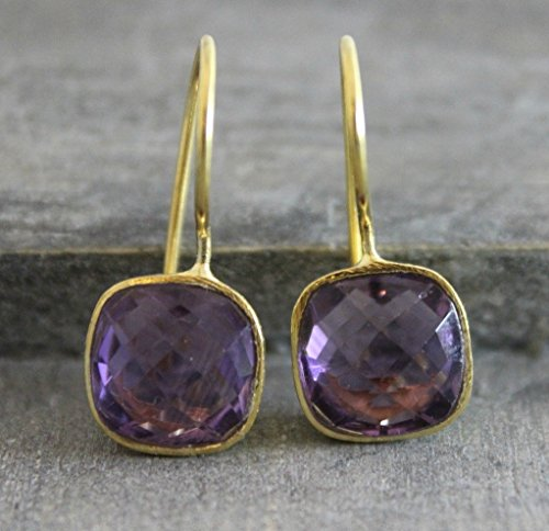 Cushion Cut Amethyst Gemstone Gold Plated 925 Sterling Silver Earrings...