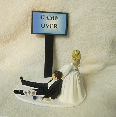 wedding reception Game Over Sign Las Vegas Cards Poker Gambler cake topper