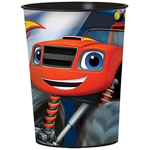 Daring Blaze and the Monster Machines Birthday Party Plastic Favour Cup (1 Piece), Blue, 16oz capacity.