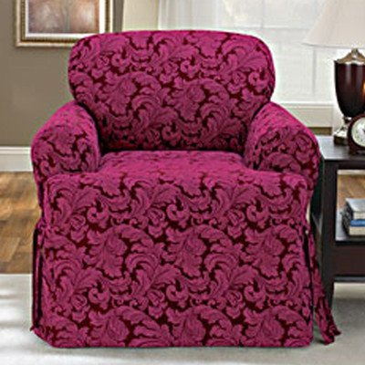Sure Fit Scroll T Cushion Chair Slipcover, Burgundy by (Scroll T-cushion Chair Slipcover)