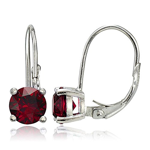 Sterling Silver Created Ruby Round Prong-Set Leverback Earrings