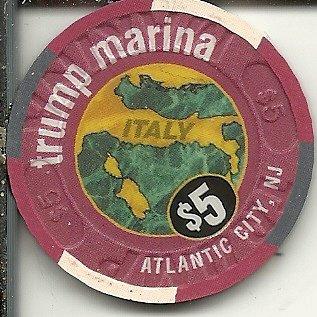 - $5 trump marina portofino italian restaurant obsolete casino chip atlantic city new jersey