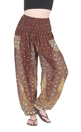 Aladdin Junior Costumes (CandyHusky Elastic Waist Peacock Feather Baggy Hippie Boho Yoga Harem Pants (Brown))