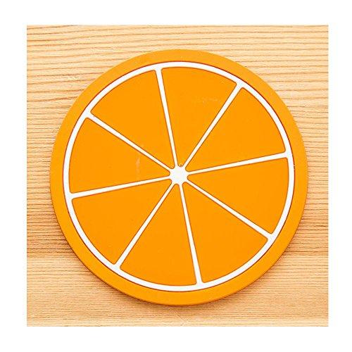 Anti-Slip Coaster,Funfunman Fruit Coaster Colorful Silicone Cup Drinks Holder Mat Tableware Placemat (orange)