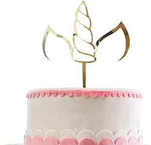 Unicorn Cake Topper Acrylic,Unicorn Birthday Party Supplies,Unicorn Horn Cake Topper, Gold Glitter Birthday Cake Topper of Cake Parties,Unicorn Themed Birthday Party Supplies Decorations for Girls,Boys