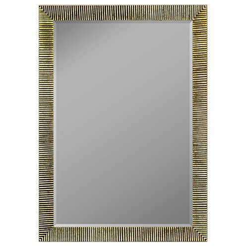 """Second Look Mirrors Textured Silver Ribbed Framed Wall Mirror, 28"""" x 40"""""""