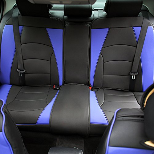 FH Group PU205013BLUEBLACK Bench PU205BLUEBLACK013 Ultra Comfort Leatherette Rear Seat Cushions Blue Black