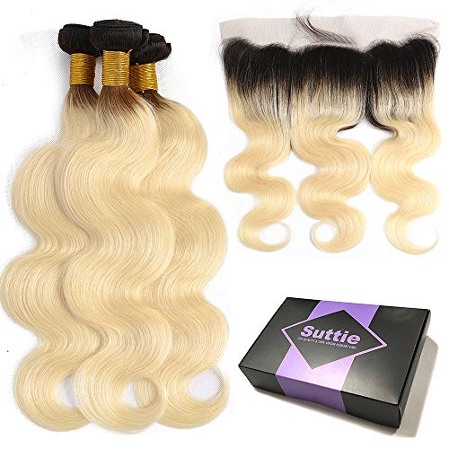 Suttie 1B 613 Blonde with Dark Roots Body Wave Real Hair Ombre Bundles Pre Plucked Frontal Lace Human Hair with Baby Hair B6J16161814C -