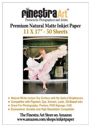 "11 x 17"" 50 Sheets Premium Natural Matte Inkjet Paper 230gsm"