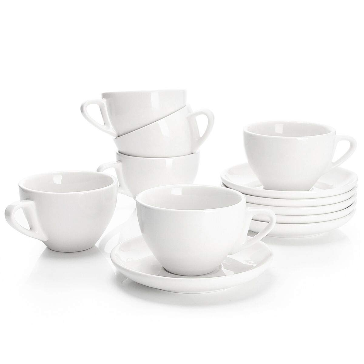 Sweese 4306 Porcelain Cappuccino Cups with Saucers - 6 Ounce for Specialty Coffee Drinks, Latte, Cafe Mocha and Tea - Set of 6, White