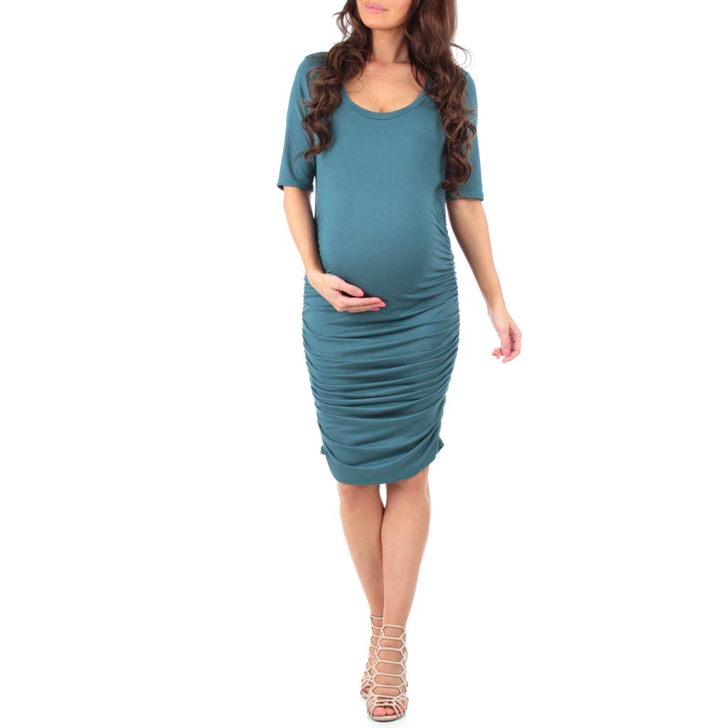 Women's Ruched Maternity Dress by Mother Bee - Made in USA (Extra Large, Vintage Teal)