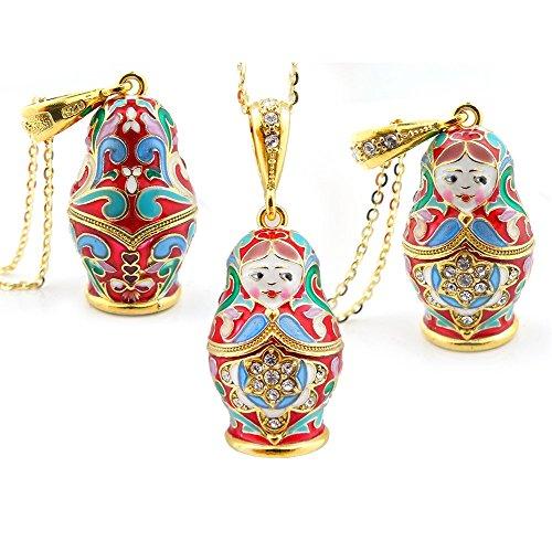 Sterling Silver 925 Gold Tone Matreshka Matryoshka Enamel Russian Pendant by Religious Gifts