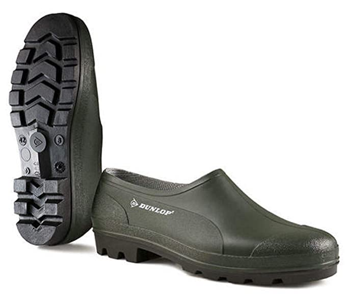 Womens Dunlop Low Cut Green Slip On Gardening Wellies Shoes Sizes 4 to 12 Mens