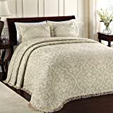 Lamont Limited All Over Brocade Bedspread, King, Sage