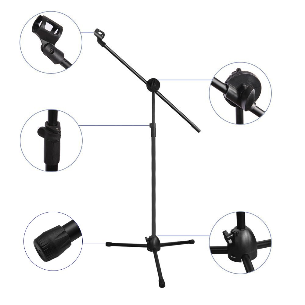 Microphone Stand, Ohuhu Tripod Boom Mic Stands with 2 Mic Clip Holders, Adjustable, Collapsible, Black by Ohuhu (Image #6)