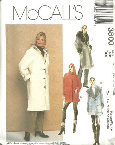 Misses Lined Coats In Two Lengths McCall's Sewing Pattern 3800 (Size Y: Xsm-Sml-Med)