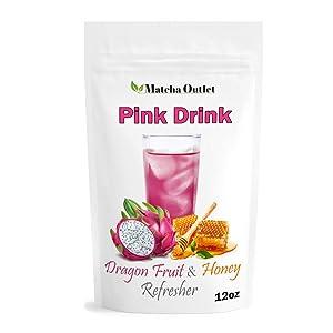 Pink Drink Powder Pitaya Dragon Fruit & Honey Refresher – Natural Superfood 12oz