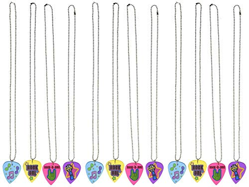 12 Plastic Guitar Pick Necklaces, 24 Inch Metal Beaded Chain, Pendant 2 Inches Assorted Colors – for Kids and Adults - Rockstar Gift Set – Great Party Favors, Stuffers, Fun, Gift, Prize - by Kidsco ()