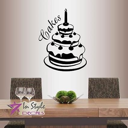 Amazon Wall Vinyl Decal Home Decor Art Sticker Birthday Cake Classy Bakery Kitchen Design Style