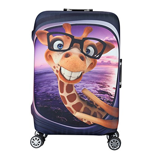 Water-Resistant Luggage Cover Protector Elastic Dust Suitcase Cover Trolley Case Cover 19-28 inch Luggage Purple M