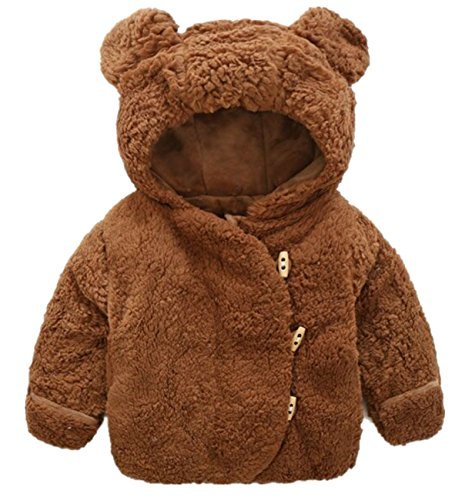 Toddler Baby Boys Girls Fur Hoodie Winter Warm Coat Jacket Cute Bear Shape Thick Clothes,Coffee,2-3 Years -