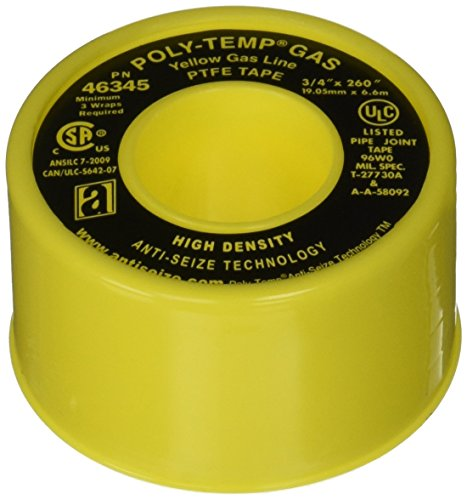 """UPC 815443013766, ANTI-SEIZE TECHNOLOGY 46345 Yellow PTFE Poly-Temp Extra Heavy Duty Gas Line Tape, 260"""" Length, 0.75"""" Width (Pack of 3)"""