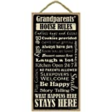 "Grandparents House Rules 5"" x 10"" wood sign plaque"