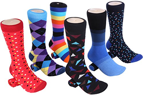 Mio Marino Men's Dress Socks - Colorful Funky Socks for Men - 6 Pack (Cool Collection, 10-13) (Cushions Wacky)