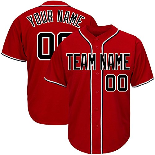 Custom Women's Red Mesh Baseball Jerseys with Embroidered Team Name Player Name and Numbers,White-Black Size L