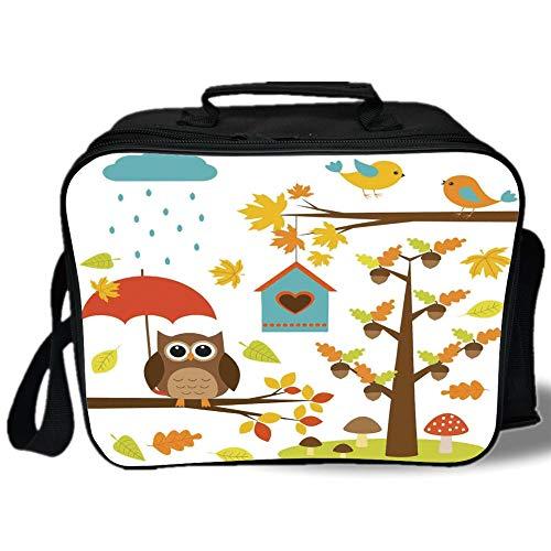 Nature 3D Print Insulated Lunch Bag,Cartoon Art Print for Kids Toddlers Owl Birds Nest Fall Acorn Maple Tree Funny Umbrella Mushroom Decorative,for Work/School/Picnic,