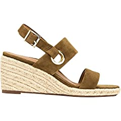 Get beach ready with Vero, a jute-wrapped wedge accented by two straps across the vamp and a slim adjustable metal buckled backstrap.