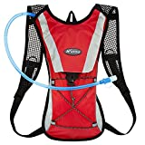 youth hydration pack - KUYOU Hydration Pack Water Rucksack Backpack Bladder Bag Cycling Bicycle Bike/Hiking Climbing Pouch + 2L Hydration Bladder,(Red+Water Pouch)