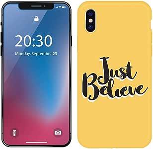 غطاء ناعم لهاتف iPhone X/XS بلون أصفر بنمط نص بسيط مضاد للسقوط
