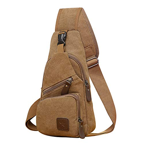 REDCAMP Canvas Sling Bag, Lightweight Small Crossbody Daypack, Shoulder Chest Sling Backpack for Men and Women Travel Sports Brown