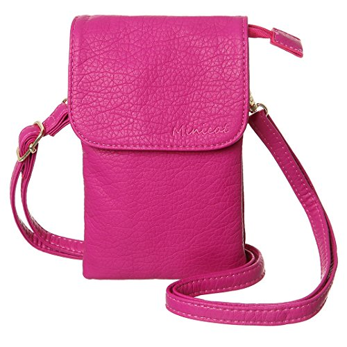 MINICAT Snythethic Leather Small Crossbody Bag Cell Phone Purse Wallet For Women(Rose)