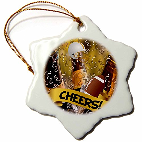 3dRose orn_101858_1 Cheers Football Sports Theme with Football, Helmet and a Bucket of Beer-Snowflake Ornament, Porcelain, 3-Inch ()