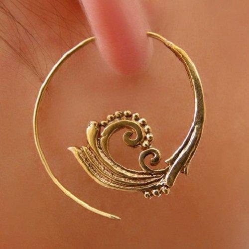 Brass Earrings - Brass Spiral Earrings - Gypsy Earrings - Tribal Earrings - Ethnic Earrings - Indian Earrings - Statement Earrings (EB6)